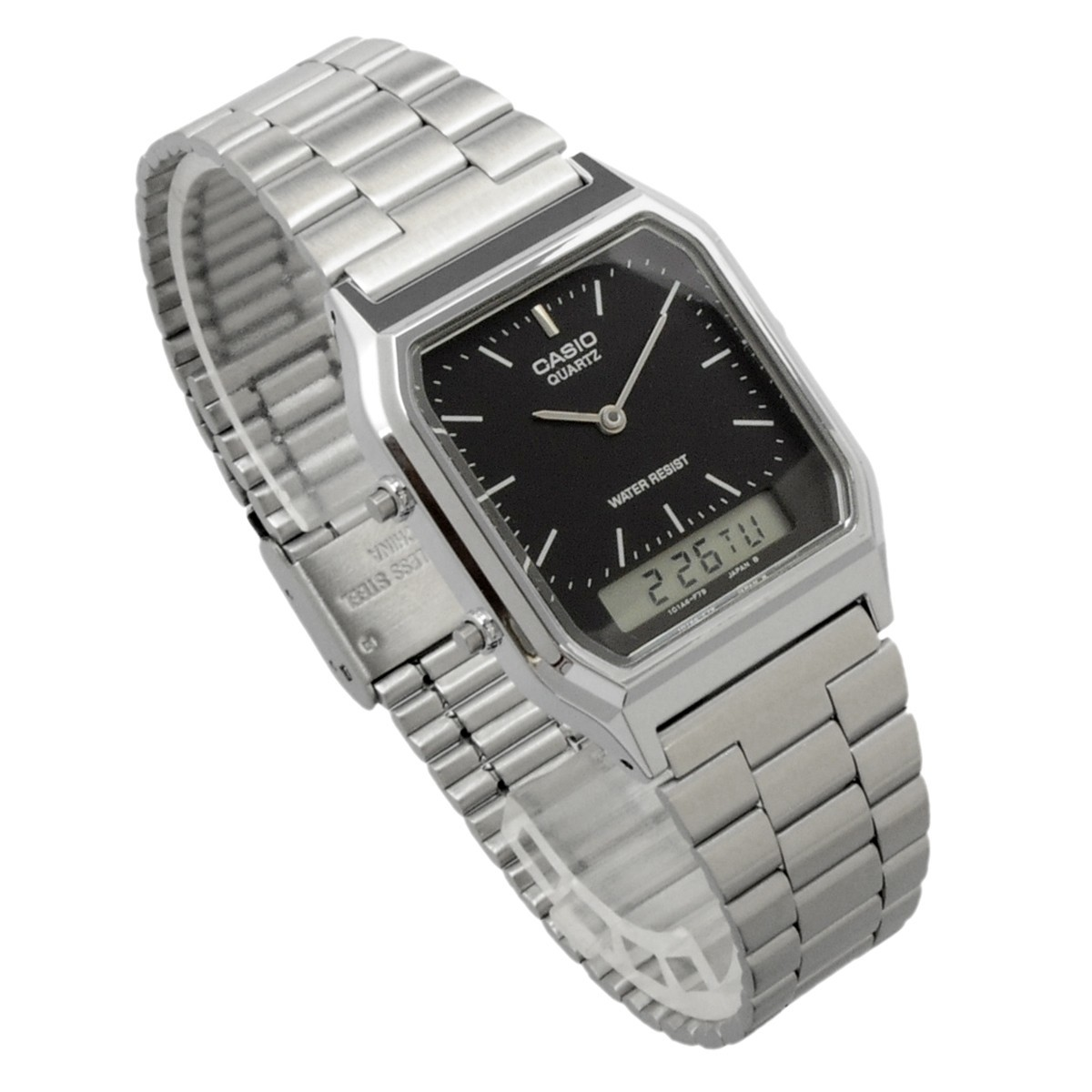 送料無料 腕時計 CASIO カシオ 海外モデル AQ-230A-1 チープカシオ デュアルタイム アナログ デジタル ユニセックス_画像4