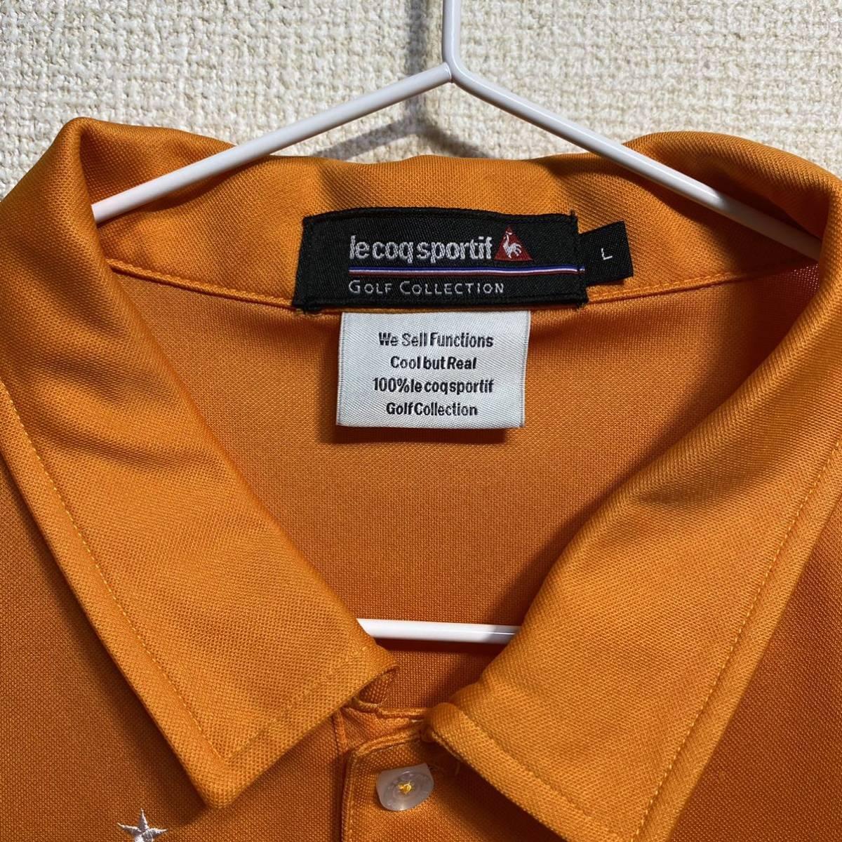 le coq sportif Golf ルコック ゴルフ 半袖ポロシャツ オレンジ メンズ L 迅速発送 送料無料!_画像3