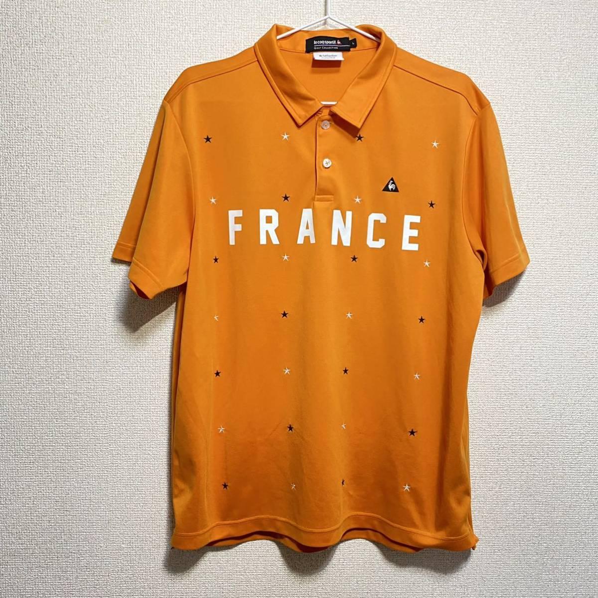 le coq sportif Golf ルコック ゴルフ 半袖ポロシャツ オレンジ メンズ L 迅速発送 送料無料!_画像1