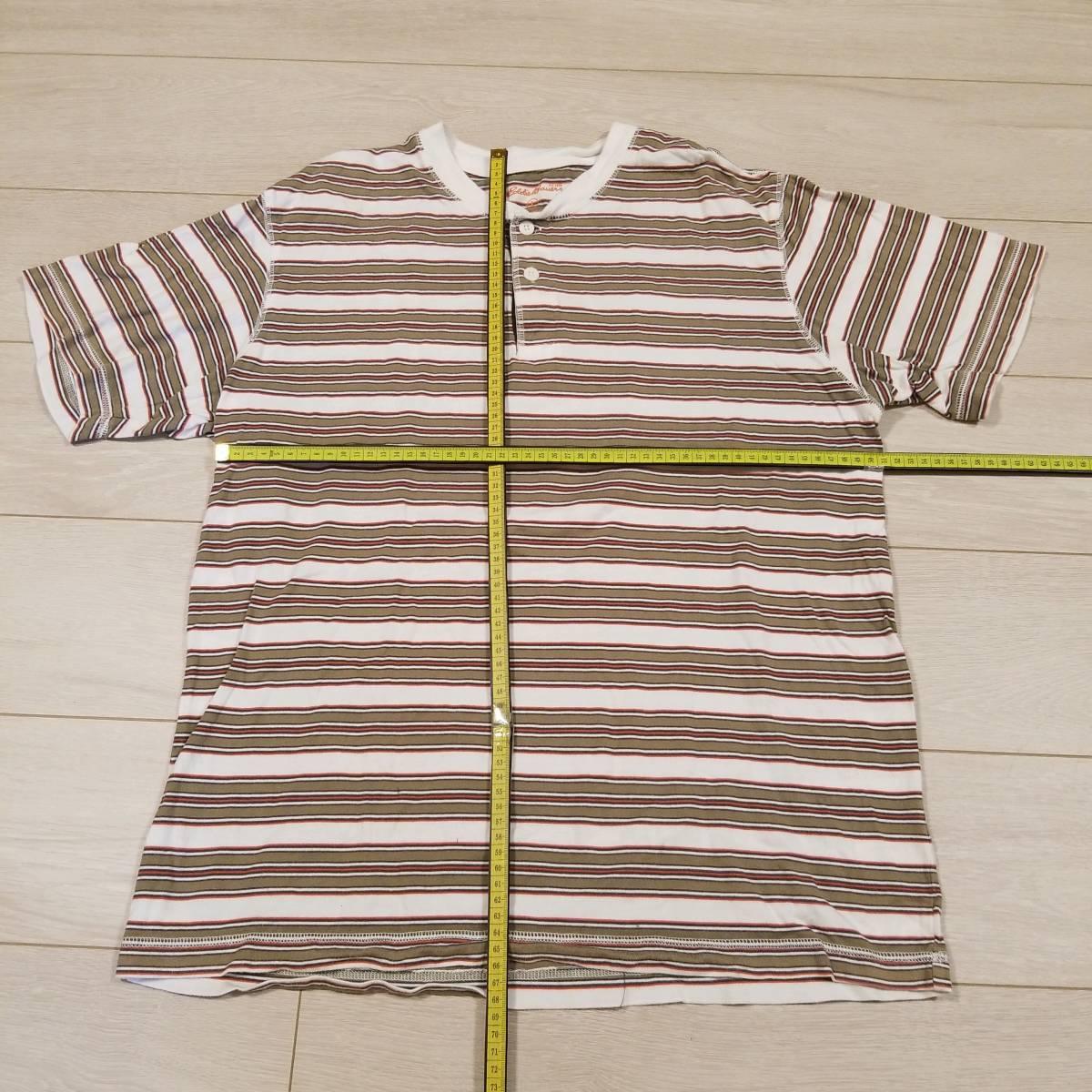 M629 Eddie Bauer エディーバウアー Tシャツ カットソー L メンズ ボーダー トップス 半袖 綿100% コットン