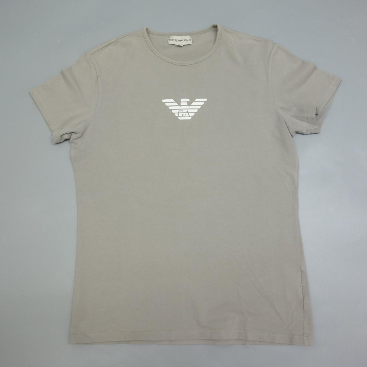 1円 EMPORIO ARMANI エンポリオアルマーニ 日本製 ロゴプリントストレッチ半袖Tシャツ ブラウン系 XXL メンズ