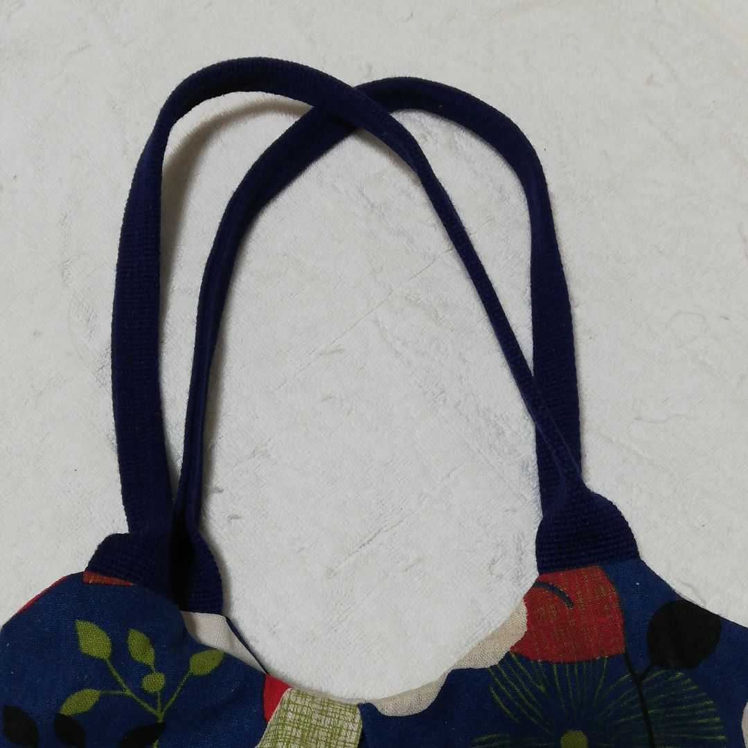 ハンドメイドバッグ トートバッグ ハンドメイド ショルダートート・ネイビー 北欧花柄