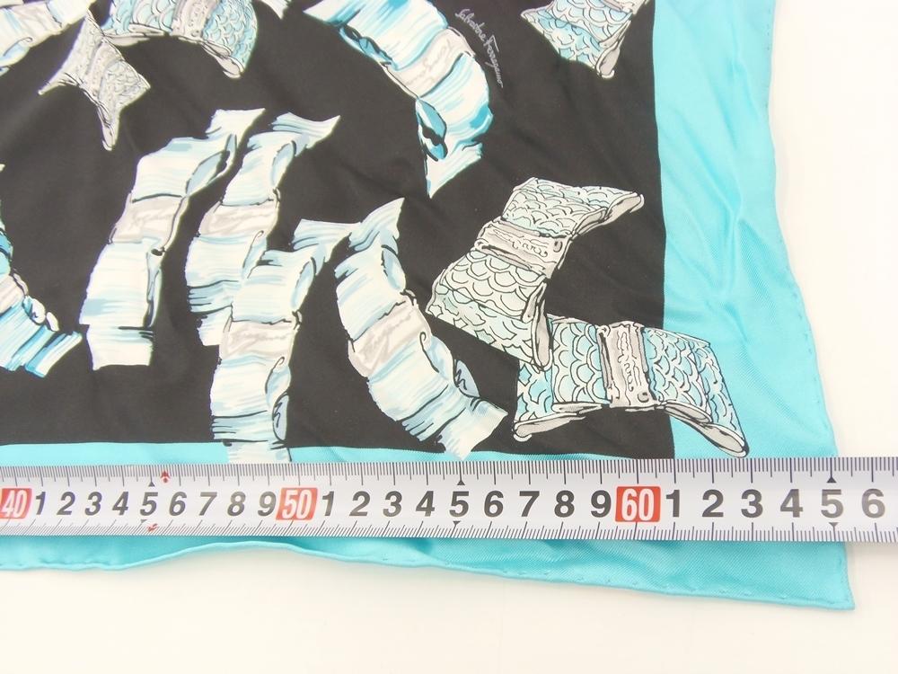 ○ Salvatore Ferragamo フェラガモ シルク スカーフ 約65cm 中古品_画像6