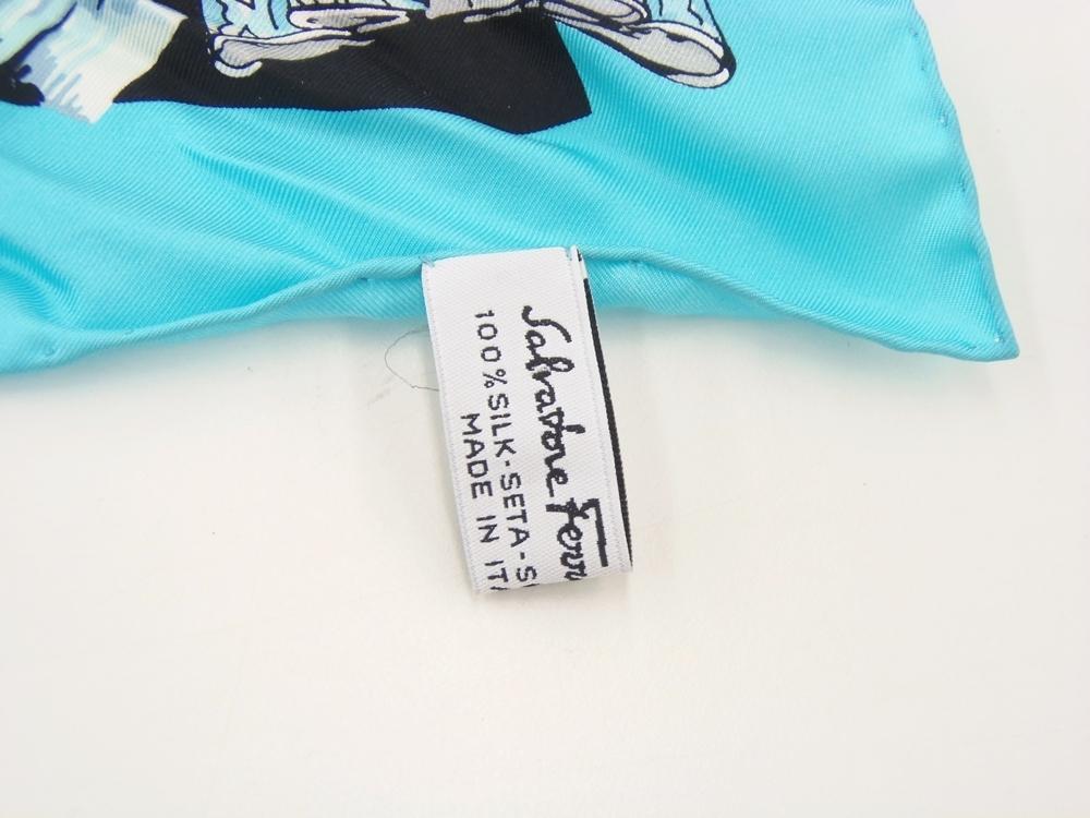 ○ Salvatore Ferragamo フェラガモ シルク スカーフ 約65cm 中古品_画像5
