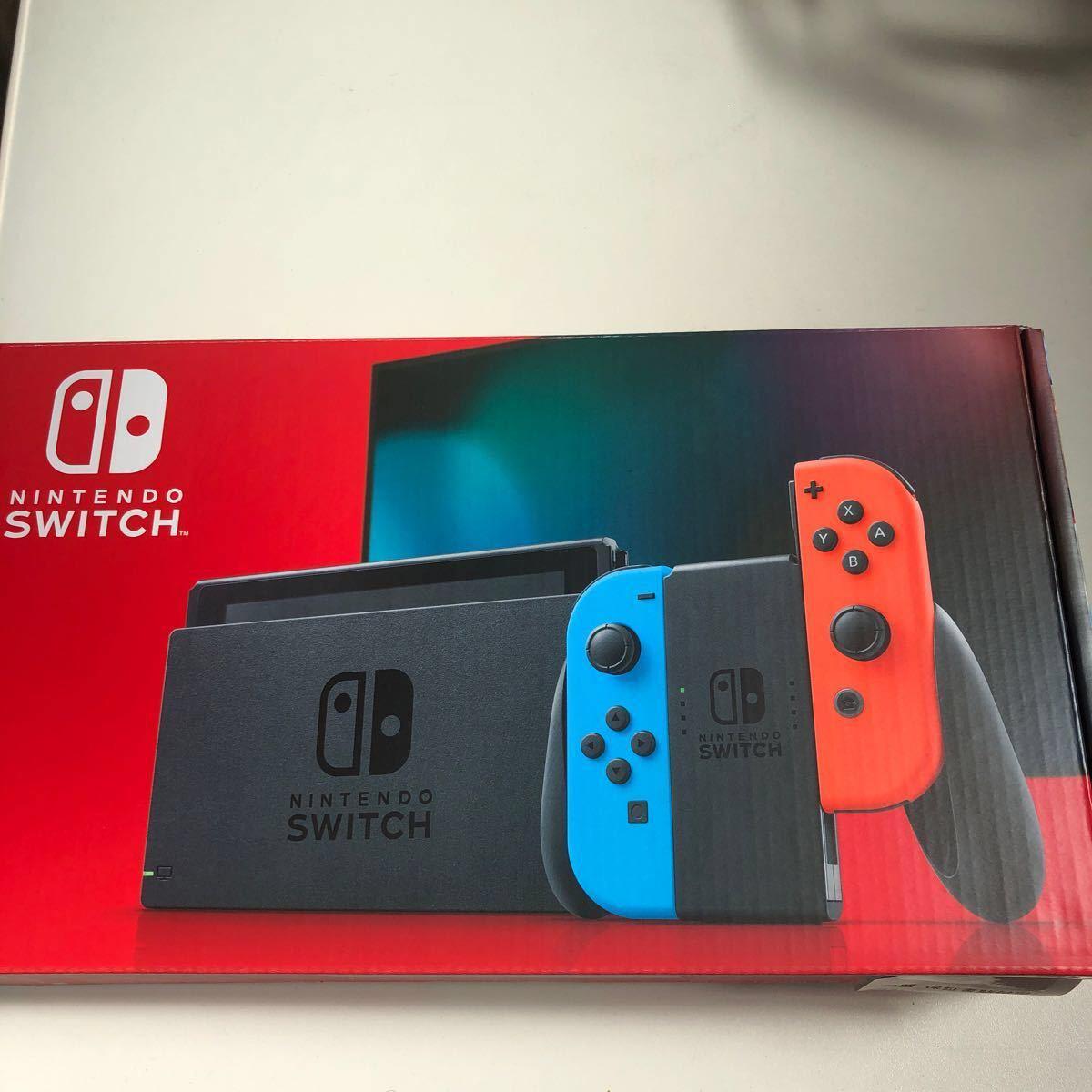 新品 ニンテンドースイッチ本体 Nintendo Switch ネオンブルー ネオンレッド 任天堂 保証書シール店印あり