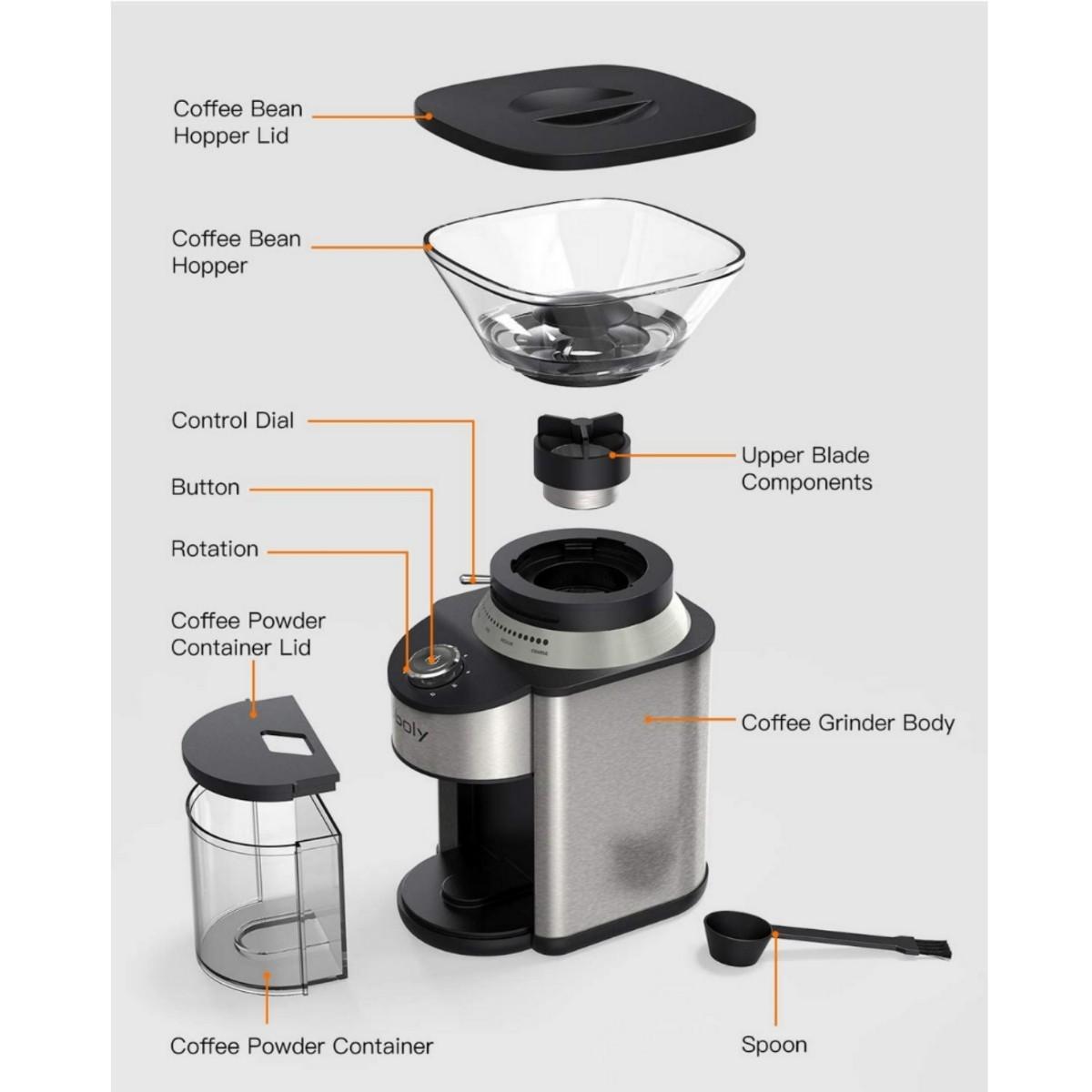 電動コーヒーミル コーン式コーヒーグラインダー ステンレススチール 19種類の粗さ調節可能 豆挽き