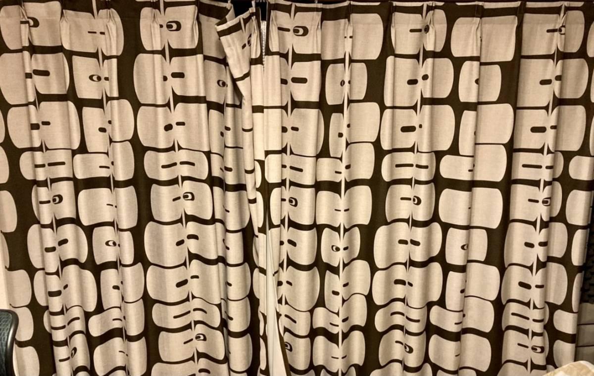 スミノエ 3級遮光カーテン オーダーメイドサイズ 幅123cm×丈178cm*2枚 モリノキ Dブラウン 1.5倍ヒダ フック付き 中古一部訳あり_画像7