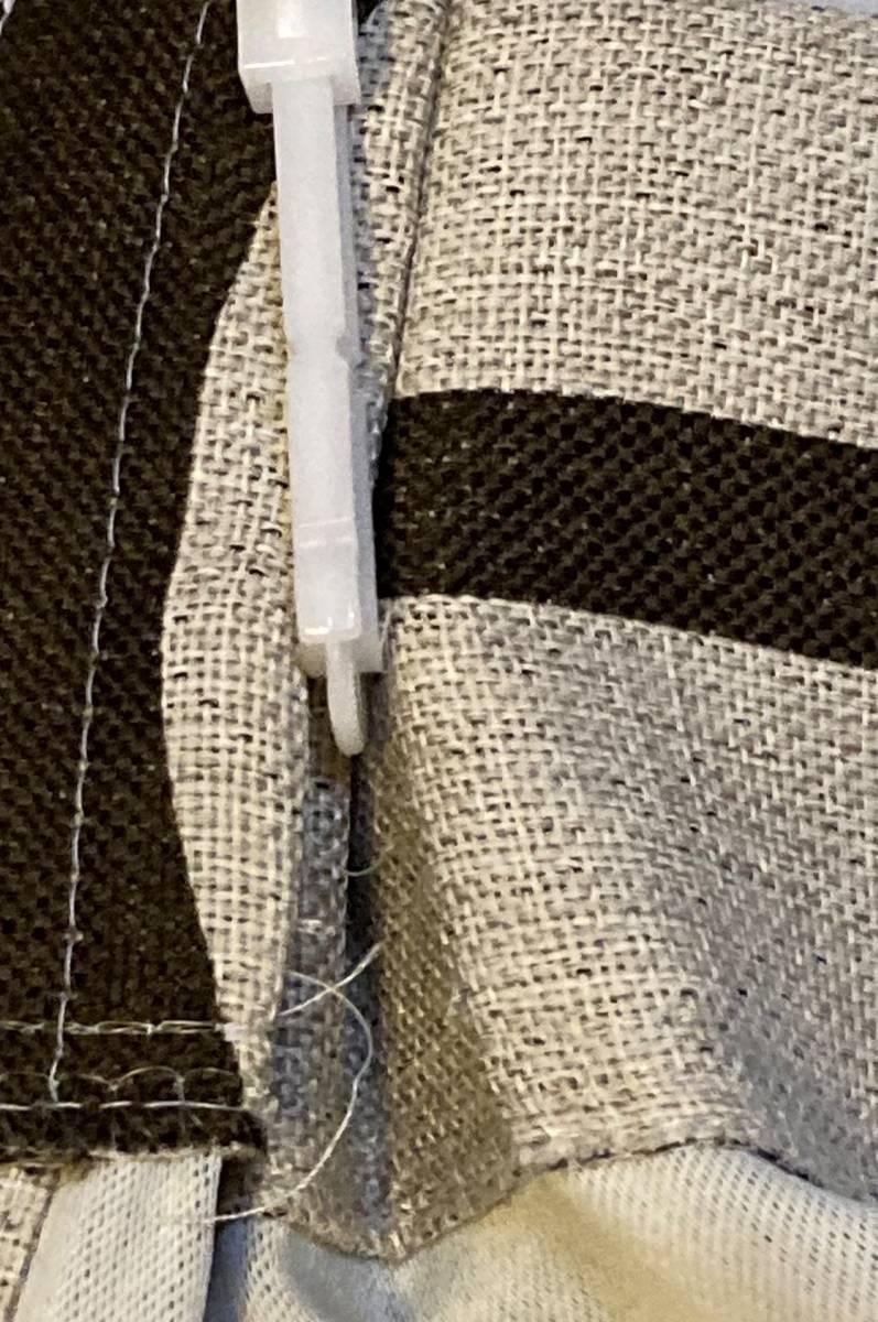スミノエ 3級遮光カーテン オーダーメイドサイズ 幅123cm×丈178cm*2枚 モリノキ Dブラウン 1.5倍ヒダ フック付き 中古一部訳あり_画像5
