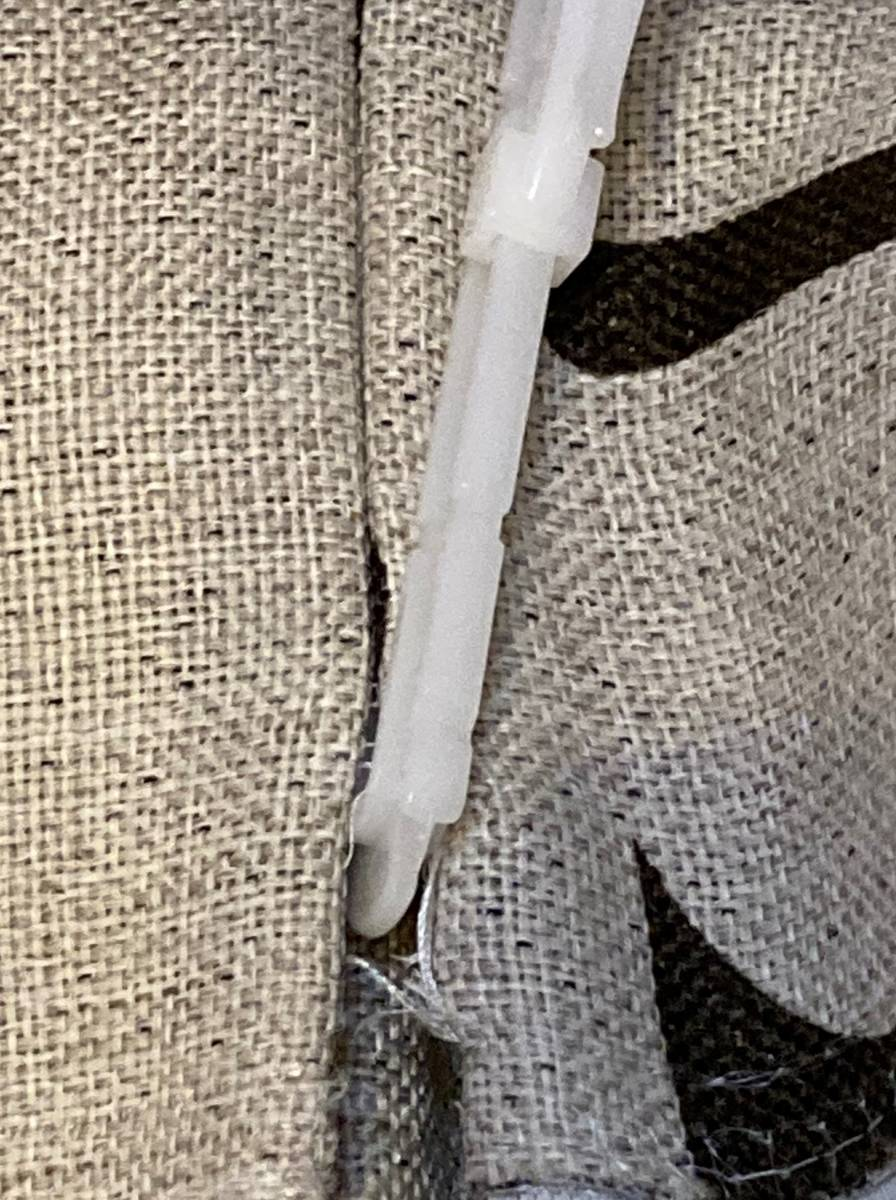 スミノエ 3級遮光カーテン オーダーメイドサイズ 幅123cm×丈178cm*2枚 モリノキ Dブラウン 1.5倍ヒダ フック付き 中古一部訳あり_画像6