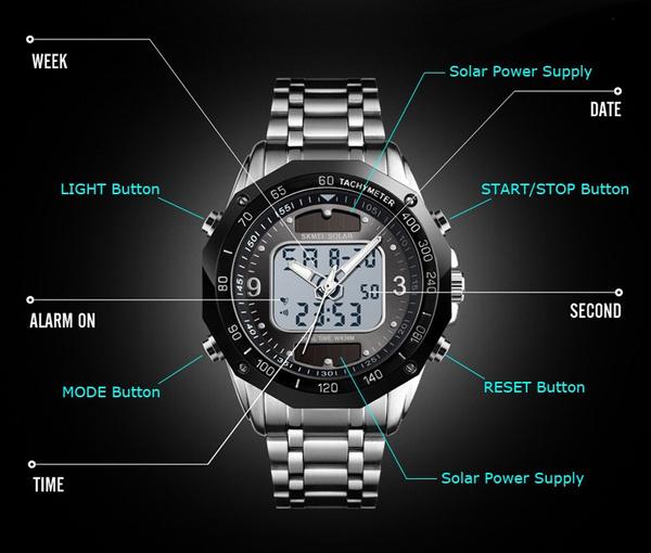 ☆新品ソーラーパワー海外メーカー SKMEI デジアナ ハイブリット 多機能 カレンダー ストップウオッチ LED照明 日本未販売 メンズ腕時計_画像6