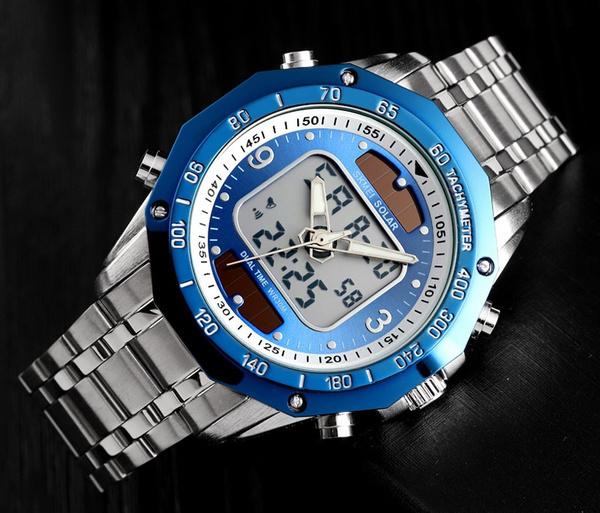 ☆新品ソーラーパワー海外メーカー SKMEI デジアナ ハイブリット 多機能 カレンダー ストップウオッチ LED照明 日本未販売 メンズ腕時計_画像3