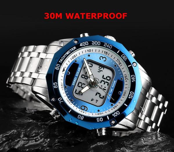 ☆新品ソーラーパワー海外メーカー SKMEI デジアナ ハイブリット 多機能 カレンダー ストップウオッチ LED照明 日本未販売 メンズ腕時計_画像4