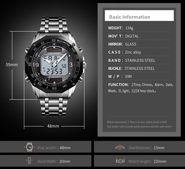 ☆新品ソーラーパワー海外メーカー SKMEI デジアナ ハイブリット 多機能 カレンダー ストップウオッチ LED照明 日本未販売 メンズ腕時計_画像7