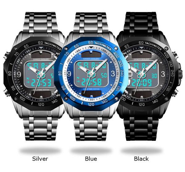 ☆新品ソーラーパワー海外メーカー SKMEI デジアナ ハイブリット 多機能 カレンダー ストップウオッチ LED照明 日本未販売 メンズ腕時計_画像5