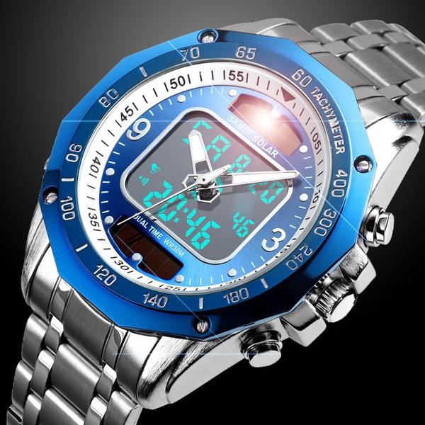 ☆新品ソーラーパワー海外メーカー SKMEI デジアナ ハイブリット 多機能 カレンダー ストップウオッチ LED照明 日本未販売 メンズ腕時計_画像2