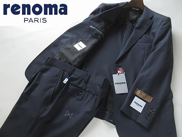 新品◆春夏★レノマ renoma PARIS★高級 Super120's ウールスーツ BB6 濃紺