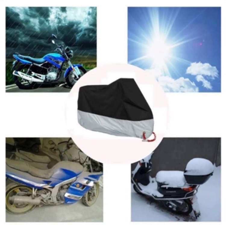 バイクカバー 中型 耐熱 防水 防風 防雪 UV 防犯 雨対策 黒 銀 2XL_画像5