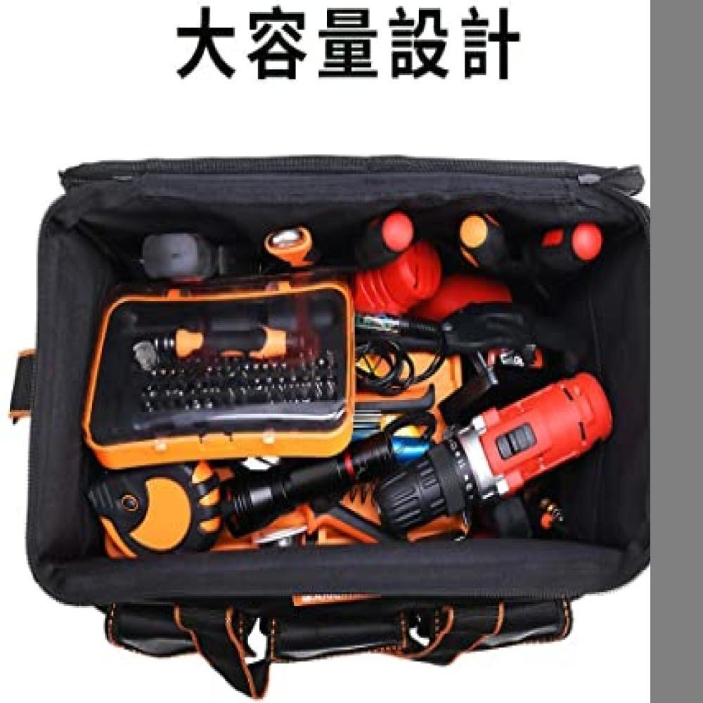 新品・黒 ツールバッグ 工具差し入れ 工具バッグ 大口収納 手提げ 作業用 持ちやすい 強化底 撥水処理 耐摩耗 工4G4Z_画像6