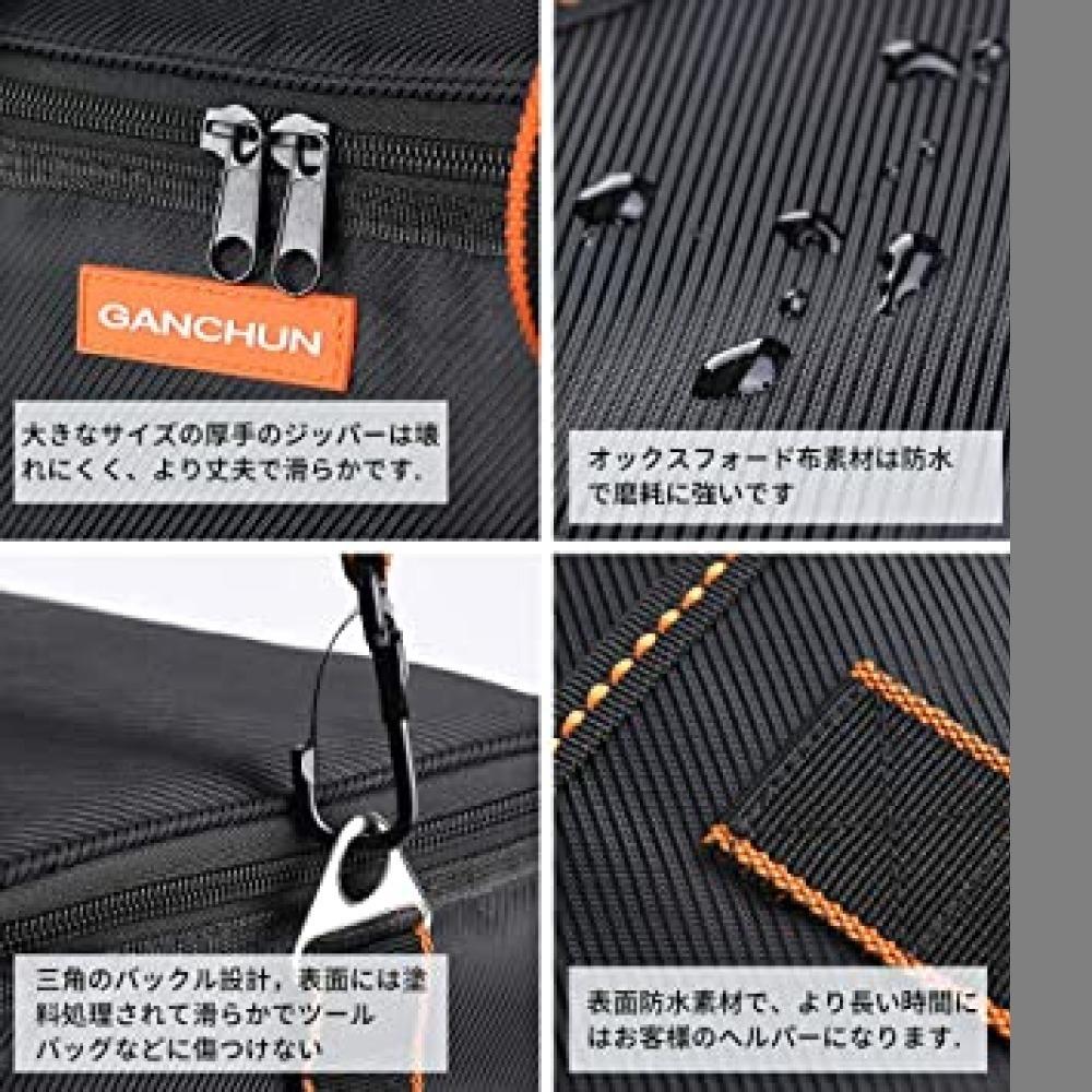 新品・黒 ツールバッグ 工具差し入れ 工具バッグ 大口収納 手提げ 作業用 持ちやすい 強化底 撥水処理 耐摩耗 工4G4Z_画像5