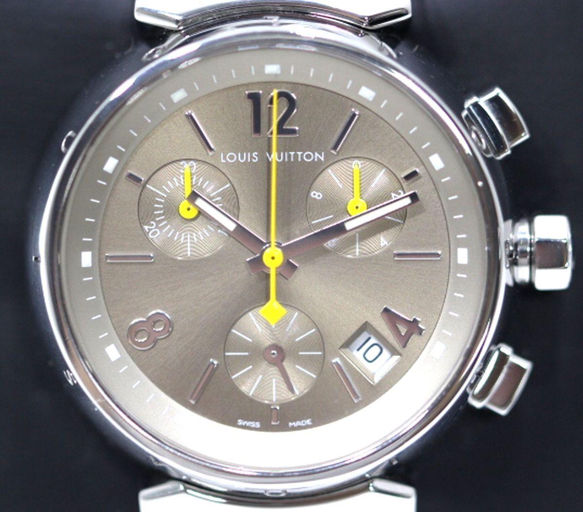 磨き済 超美品 ヴィトン Q1322 タンブール クロノグラフ クオーツ ステンレスベルト 時計 ボーイズ_画像1