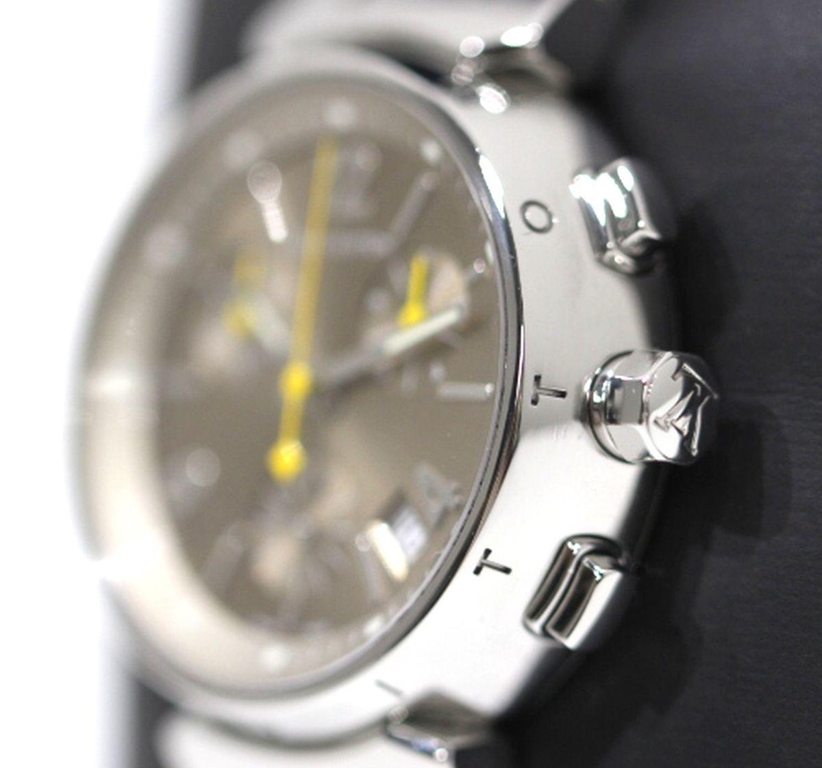磨き済 超美品 ヴィトン Q1322 タンブール クロノグラフ クオーツ ステンレスベルト 時計 ボーイズ_画像2