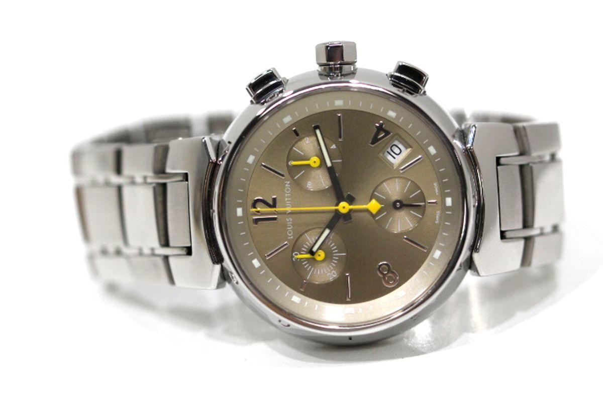 磨き済 超美品 ヴィトン Q1322 タンブール クロノグラフ クオーツ ステンレスベルト 時計 ボーイズ_画像3