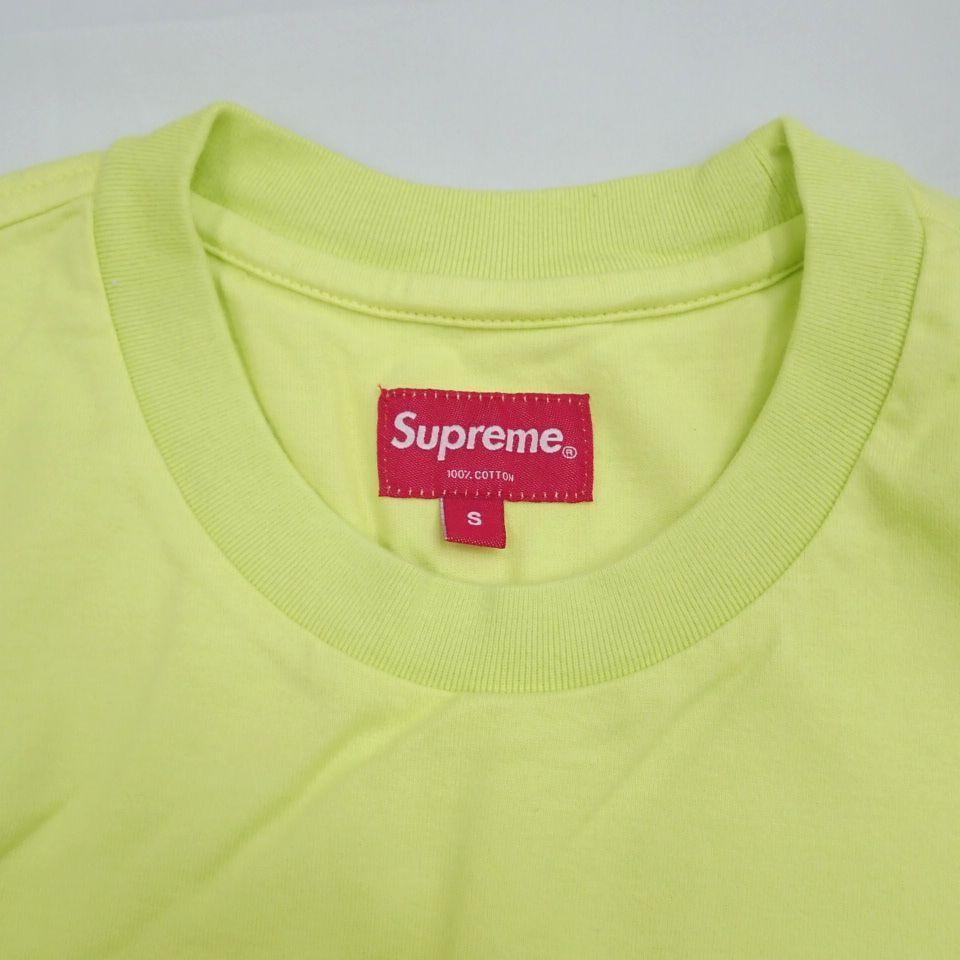 ●1円 未使用 Supreme/シュプリーム 半袖Tシャツ メンズS/ライムイエロー/コットン100%/ロゴ/クルーネック#1040800015_画像3