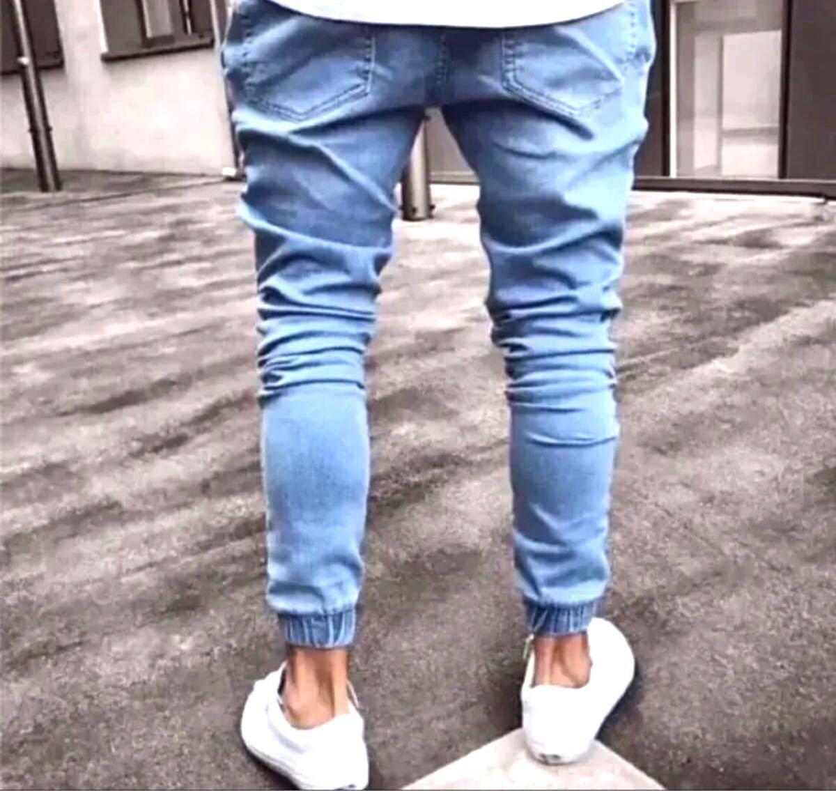 新品スキニー デニム Lサイズジョガーパンツインディゴ 韓国 オルチャン メンズ  デニムパンツ スキニー メンズジーンズ