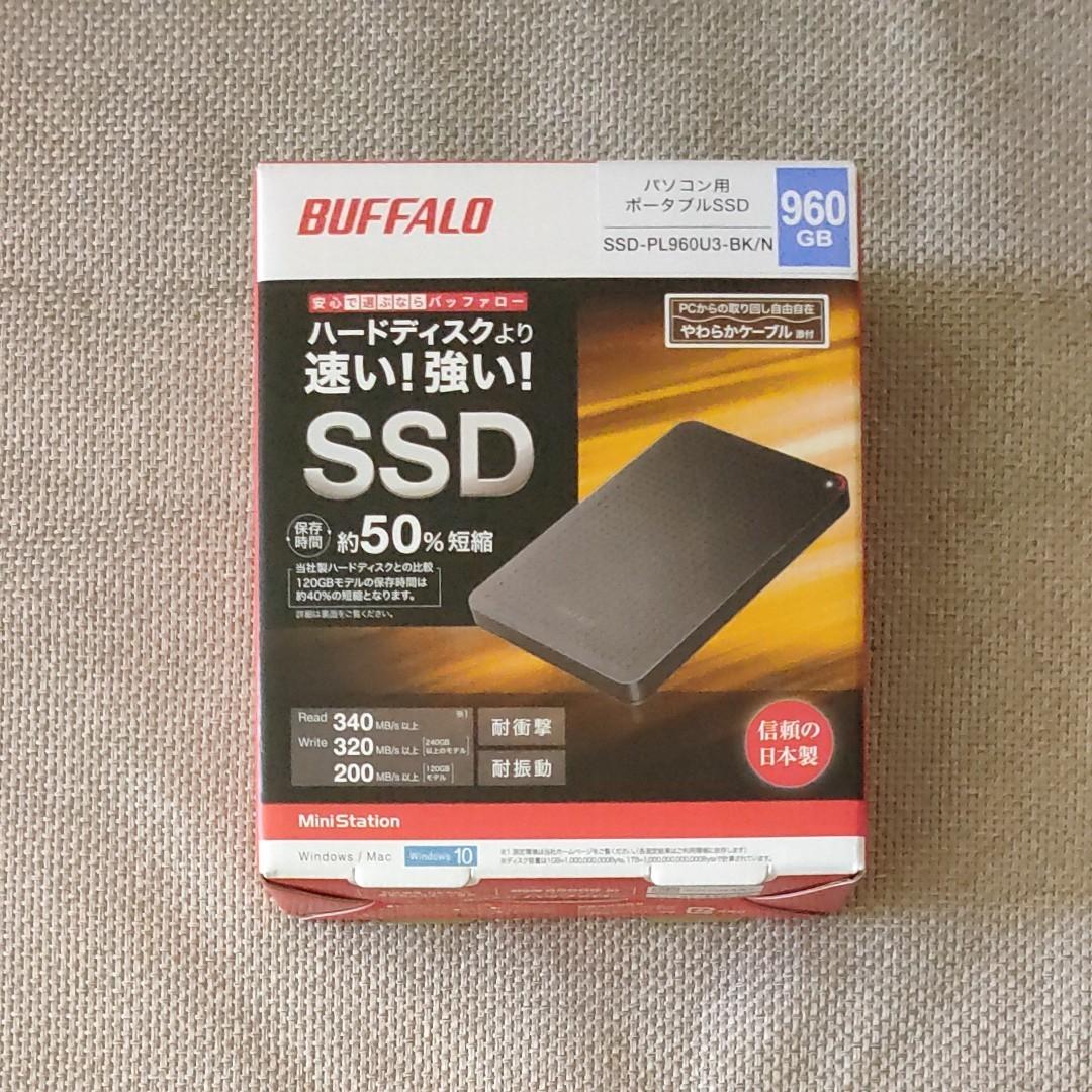 ほぼ新品 バッファロー 外付け SSD 960GB ポータブル BUFFALO SSD-PL960U3-BK/N USB3.1対応