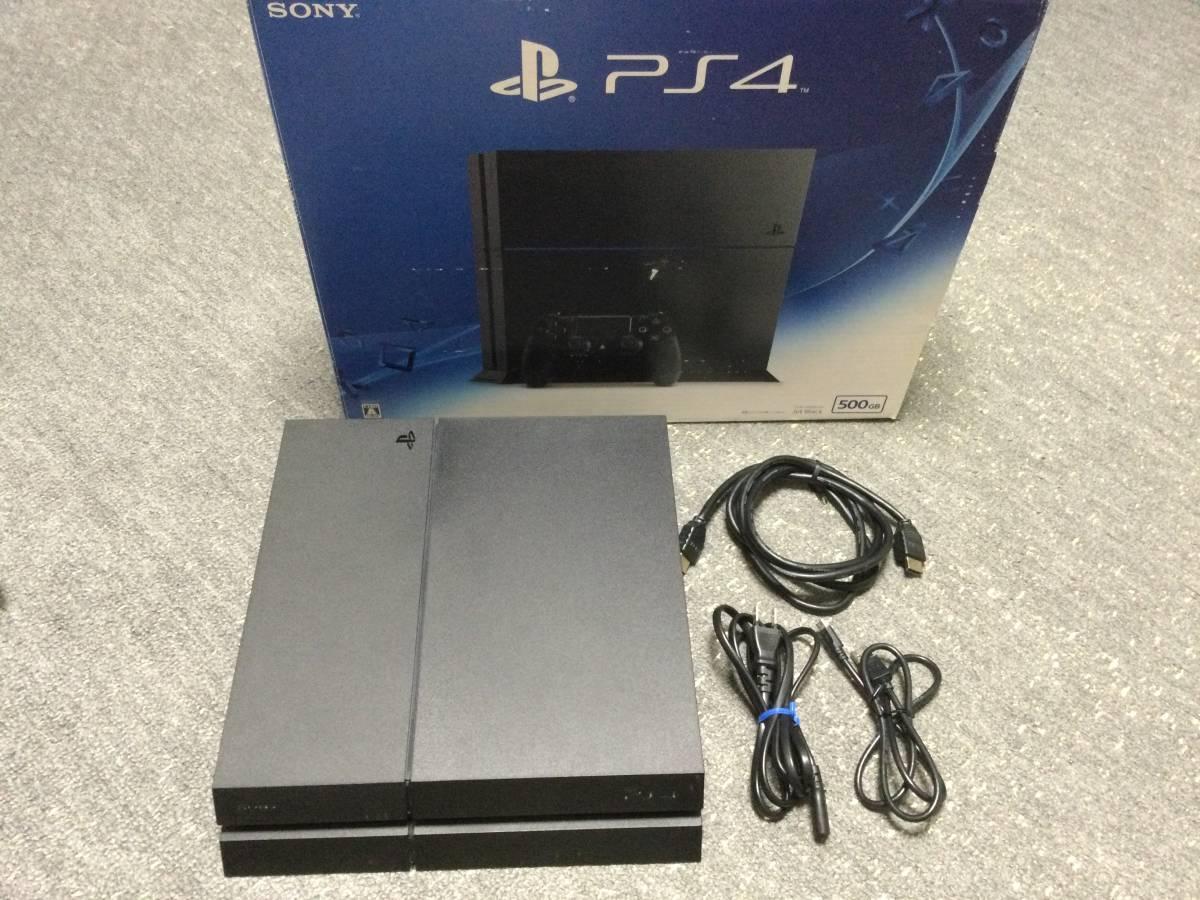 (中古)SONY プレイステーション4 PS4本体 500GB CUH-1200AB01 ジェットブラック 本体のみ 日本製 状態B ややキズあり (送料無料)