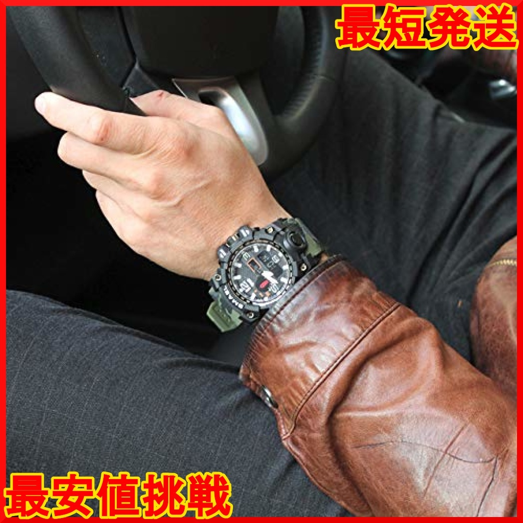 グリーン PHCOOVERS ミリタリー 迷彩風 アナデジ 腕時計 メンズ 男性 アラーム クロノグラフ 多機能 運動 スポーツ_画像3