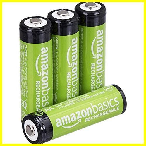 【限界価格】 充電式ニッケル水素電池 単3形4個セット 充電池 (最小容量1900mAh、約1000回使用可能) Amazonベーシック_画像1