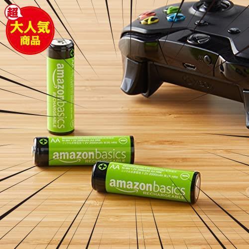 【限界価格】 充電式ニッケル水素電池 単3形4個セット 充電池 (最小容量1900mAh、約1000回使用可能) Amazonベーシック_画像7