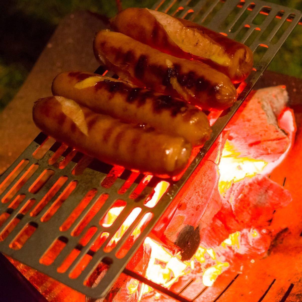 チタン 焼き網 ソロキャンプ 極軽 グリル BBQ バーベキュー 持ち運び 便利