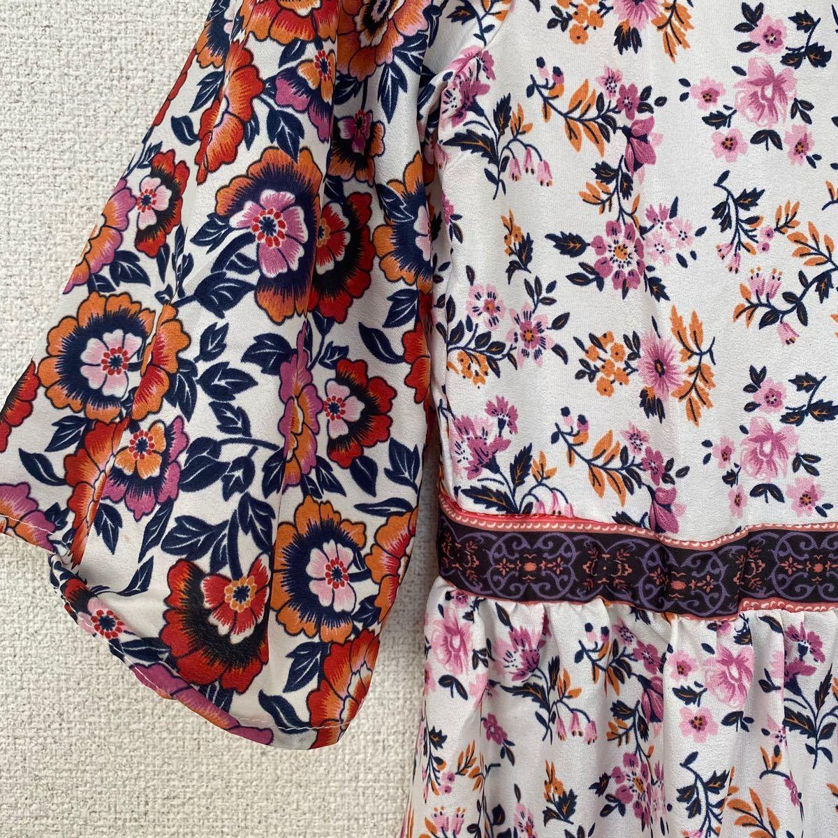 ワンピース 韓国 レディース 花柄 ロングワンピース インポート 花柄ワンピース シャツ ロングシャツ 夏 ロングスカート L