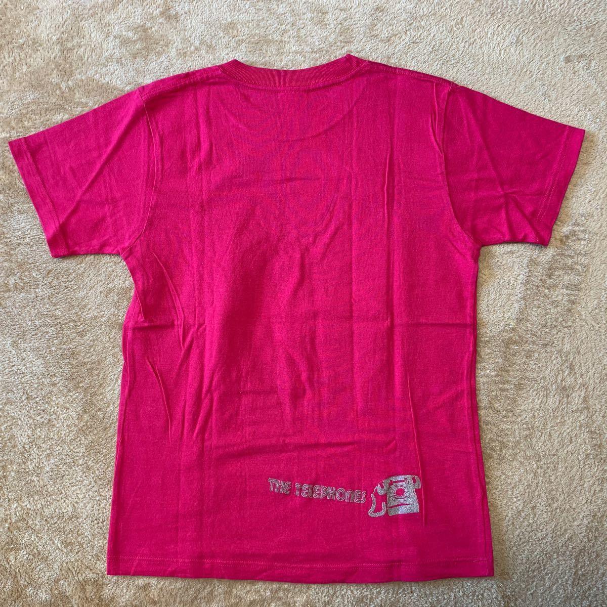 ★ バンドTシャツ the telephones(ザ テレフォンズ) サイズ 150 ピンク 美品 缶バッジ付き ツアーグッズ ★