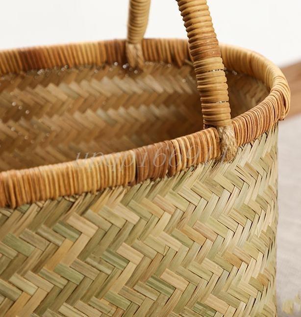 かごバッグ 高級 和風 竹籃 手作り 竹編 竹工芸 竹細工 工芸品 置物 収納ボックス 茶道具 茶箱 茶器トートバッグ 竹かごだけです_画像4