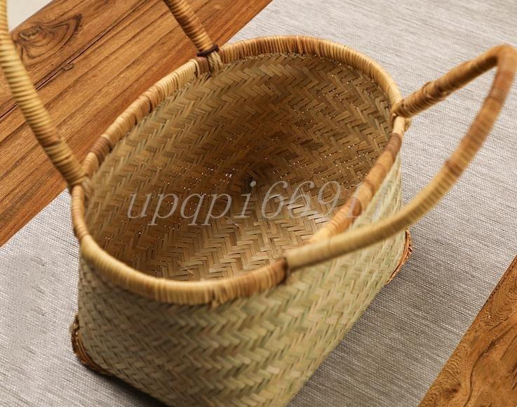 かごバッグ 高級 和風 竹籃 手作り 竹編 竹工芸 竹細工 工芸品 置物 収納ボックス 茶道具 茶箱 茶器トートバッグ 竹かごだけです_画像5