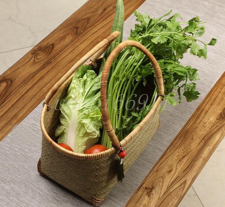 かごバッグ 高級 和風 竹籃 手作り 竹編 竹工芸 竹細工 工芸品 置物 収納ボックス 茶道具 茶箱 茶器トートバッグ 竹かごだけです_画像9