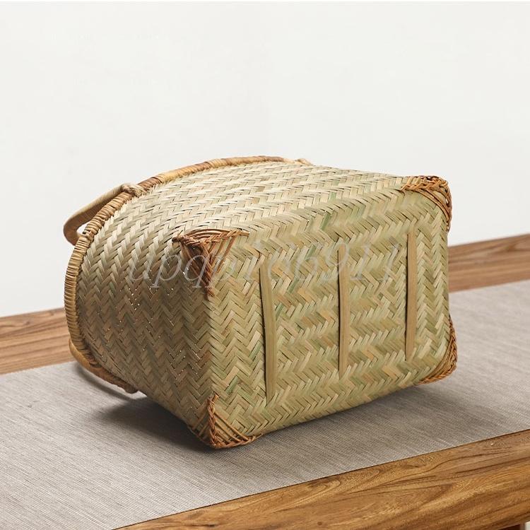 かごバッグ 高級 和風 竹籃 手作り 竹編 竹工芸 竹細工 工芸品 置物 収納ボックス 茶道具 茶箱 茶器トートバッグ 竹かごだけです_画像8