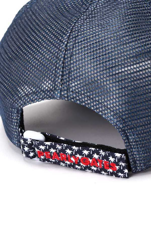 新品正規品 パーリーゲイツ 21夏モデルの最新作 メッシュ キャップ 高機能 遮熱性素材 ヤシの木総柄 ネイビー 送料無料_画像7
