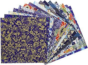 青色系Bセット15枚 【Amazon.co.jp 限定】和紙かわ澄 千代紙 友禅和紙 15×15cm 15柄・15枚_画像1