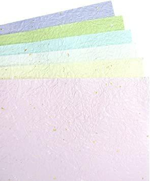 パステルカラー B4判 【.co.jp 限定】和紙かわ澄 日本の色 パステルカラー 淡色 もみ和紙 金銀振り B4_画像1