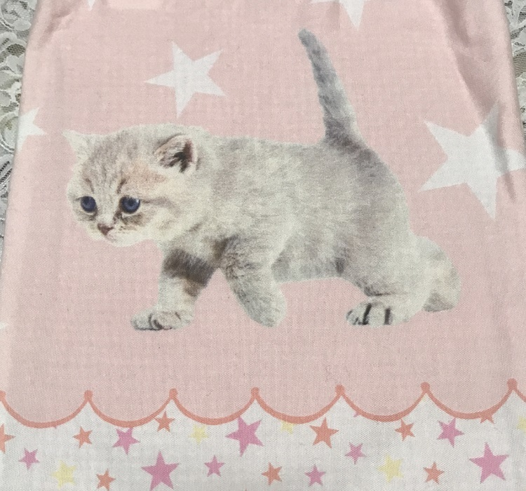 ハンドメイド エコバッグ トートバッグ 肩かけ 猫バッグ ネコ 猫 仔猫 子猫 CAT 猫柄 生地