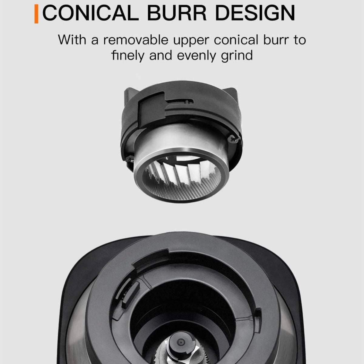 コニカル式コーヒーグラインダー ステンレススチール 調節可能なバリミル 19種類の正確な挽き設定