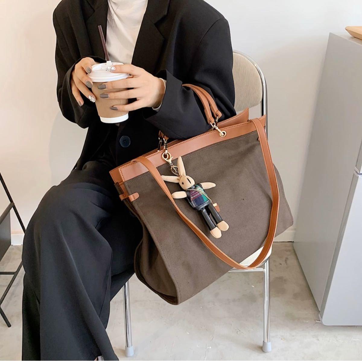 ショルダーバッグ トートバッグ 大容量 斜め掛け キャンバス コーヒー