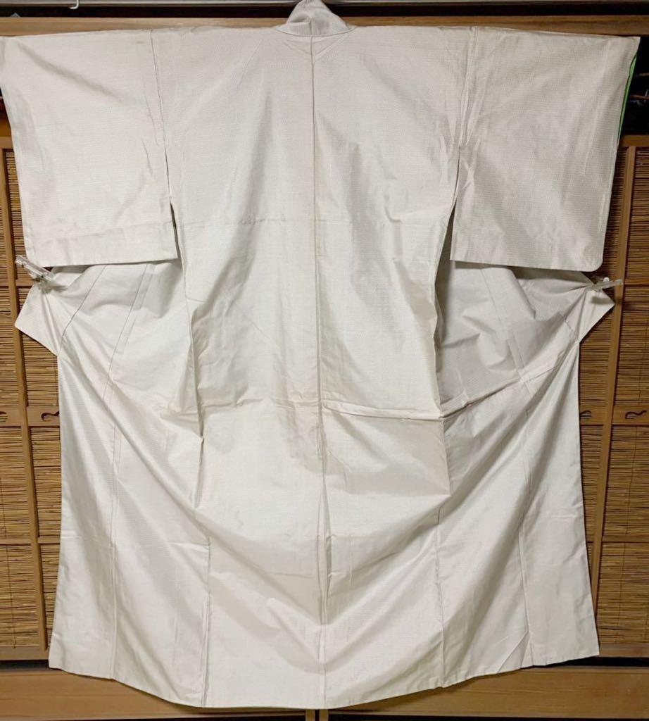 白大島紬 正絹白大島紬織 白無地に100亀甲総絣 K109_画像1