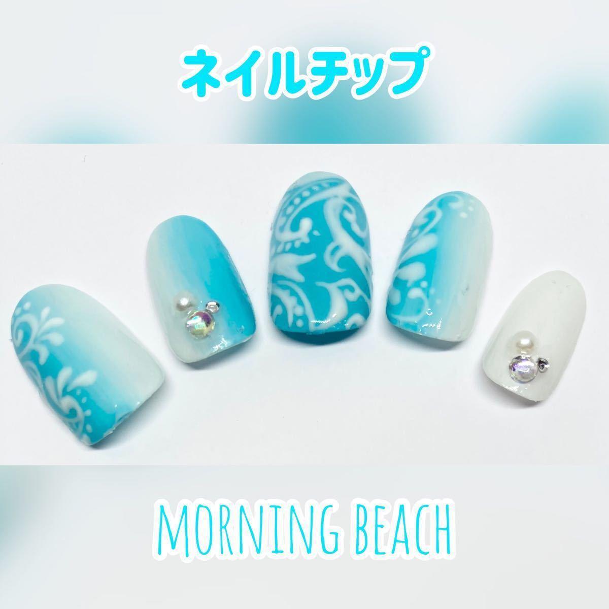 リョウLove様専用 ネイルチップ 10枚+両面シール ☆morning beach☆ 付け爪 ジェルネイル グラデ 水色 白