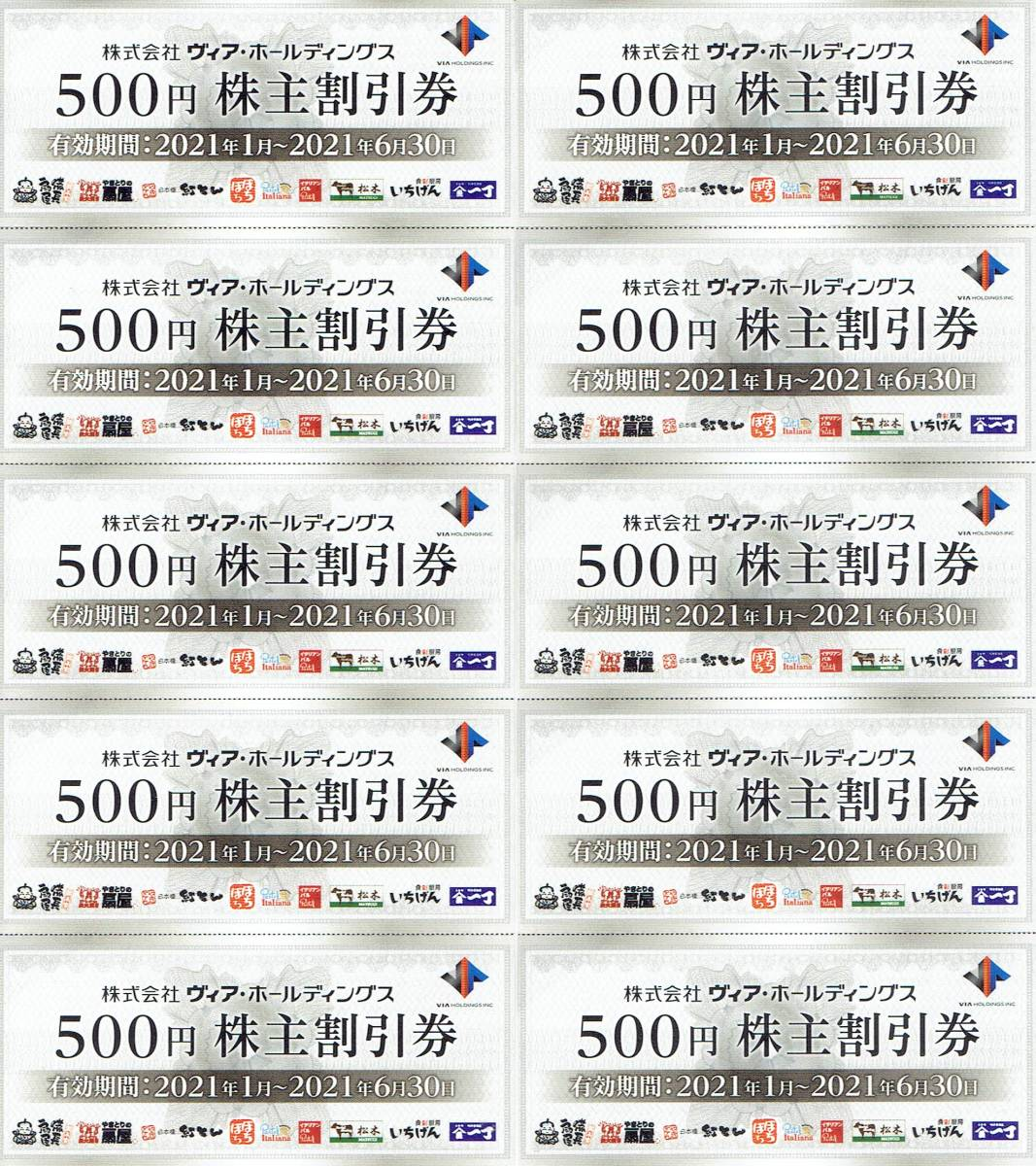 ♪♪ヴィア・ホールディングス 株主優待券 10枚セット♪♪_画像1