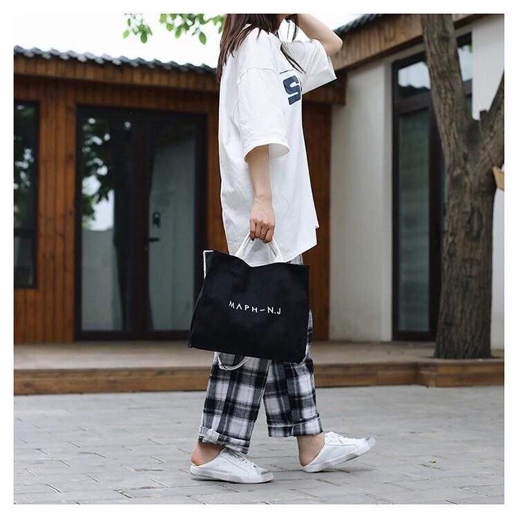 ミニポーチ付き キャンバス トートバッグ ショルダーバッグ A4 韓国ブラック